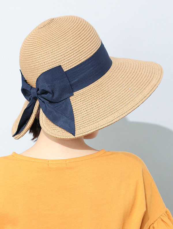 リボン付ツバ広帽