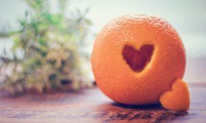 ハートのオレンジ